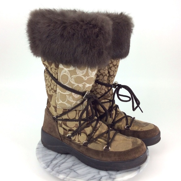 Coach Laurilyn Knee High Fur Top Winter Boots